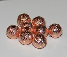 75pcs 8mm Round Brass Stardust Metal Spacers - Rose Gold