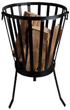 Brasero Receptáculo de fuego chimenea de PATIO REDONDO 35x36x59cm Hierro Negro