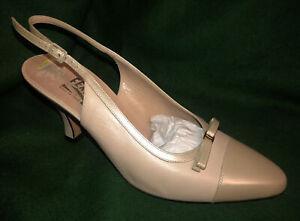 Salvatore Ferragamo Tan Heels Shoes ~8.5~ Slingback Made in Italy DU 22100 Beige