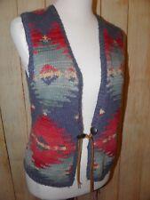 Vintage Ralph Lauren Aztec Hand Knit Sweater Vest Meduim Navajo Southwestern
