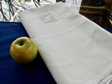 Antique White Irish Damask Linen 70x87 Tablecloth Art Deco Stripes Monogram HOB