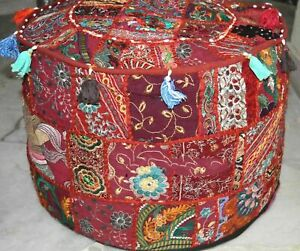 Indian Ottoman Pouf Cover Red Color Embroidered Patchwork Cotton Footstool Pouf