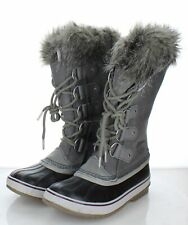 22-24 NEW $210 Women's Size 9 Sorel Joan of Arctic Suede Lace Up Boots In Gray