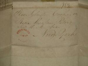 STAMPLESS-SARATOGA SPRINGS, 1835, FOLDED LETTER
