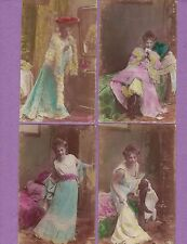 0813ZK RPPC'S SET 8 VICTORIAN WOMAN RECEIVES A LETTER SEXY RISQUE NPG ORANOTYPIE