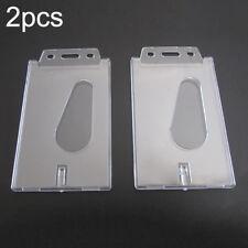 2* Vertical Hard Plastic ID Badge Holder Single Card Multi Transparent Clear