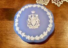 Wedgwood Blue Jasperware Trinket Box CANADA Coat of Arms cir. 1956