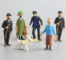 Figuras de colección de Tintin, milu, Haddock, Tornasol, Hernandez y Fernandez