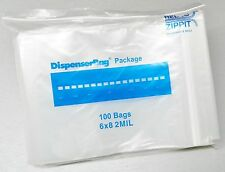 "100 ZIPLOCK BAGS 6""x8"" CLEAR 2MIL POLY RECLOSABLE ZIP LOCK BAG 6x8 RELOC ZIPPIT"