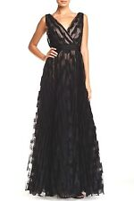 NWT $498 Mignon Lace Surplice Gown Pleated Black/Nude [SZ 4] #M164
