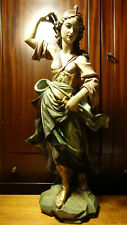 """✟ ANTIQUE 24"""" WOOD HAND CARVED DIANA ROMAN GODDESS OF THE HUNT BOW STATUE FIGURE"""