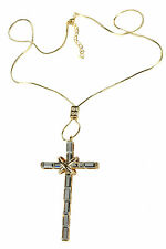 Chain Diamante Detail Necklace Gold Cross Pendant Necklace with Snake