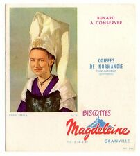 Buvard publicitaire biscottes Magdeleine Granville Coiffes de normandie n° 25