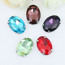 20 Crystal Glass Oval Sewing Rhinestones Rose Montees Beads 10X14mm 13X18mm