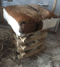 Teakhocker Fellhocker Teakholz Teak Holz Fell massiv  - Sitzhocker -