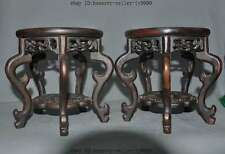 """8"""" Old Chinese Huanhuali wood Pure Hand-Carved Bonsai Potted Pedestal Bases Pair"""