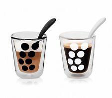 ZAK design Espresso Gläser Dot Dot doppelwandig im Set mit Löffel 7,5cl