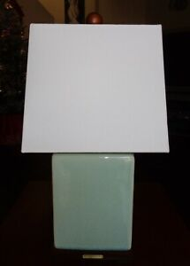 RALPH LAUREN TABLE LAMP CRACKLE PORCELAIN LIGHT TEAL BLUE GREEN MINT LOGO NEW