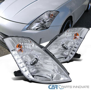 "Fit 03-05 Nissan 350Z Z33 Fairlady Clear ""HID"" SMD LED DRL Projector Headlights"