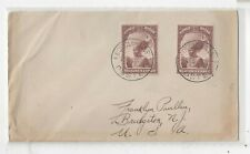 Belgian Congo 1935 Cover to Us, 1.25 Fr Chieftain x 2