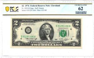1976-D U.S. $2 - Federal Reserve Note - PCGS Banknote UNC 62