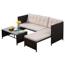 New Listing3 Pcs Outdoor Rattan Furniture Sofa Set Lounge Chaise Cushioned Patio Garden