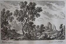 PERELLE , EAU FORTE ORIGINALE FIN 17 ÈME, DREVET.Collection petits paysages.(16)