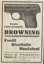W3553 BROWNING - Fucili Rivoltelle Munizioni - Pubblicità 1925 - Advertising