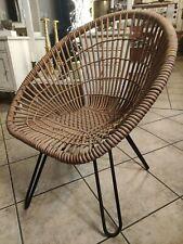Mid-Century Circle Balloon Chair 60er Lounge Sessel String Rattan Korbstuhl