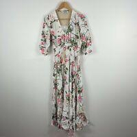 Showpo Maxi Dress 10 Multicoloured Floral 3/4 Sleeve V-Neck Rayon Boho