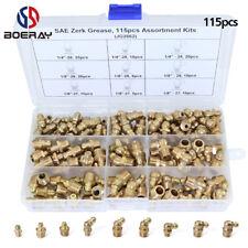 "115pcs 1/4"" 1/8"" Hydraulic Grease Brass Zerk Fitting SAE Standard Assortment Kit"