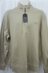 Greg Norman for Tasso Elba Men's Sweater Sz L Taupe Cotton Play Dry Henley Neck