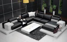 Modern Large LEATHER Corner SOFA Suite NEW Stylish Unique Black Settee Modular