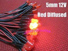10pcs, 5mm Red Diffused 9V 12V DC Bright Pre-Wired LED Leds Light 20CM New