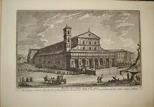 Stampa antica Basilica S. Paolo Roma Giuseppe Vasi incisione engraving gravure