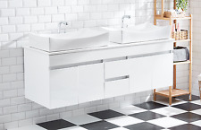 Bathroom Cabinet large double basin with Stone top bench drawers Vanity AR1009