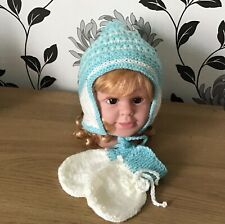 Handmade Knitted Baby hat and mittens