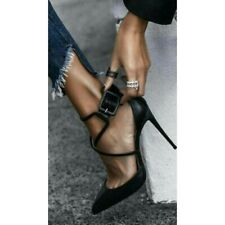 Women's Pointed Toe Stilettos Pumps Cross Strap Fashion Buckle Heels Shoes Black
