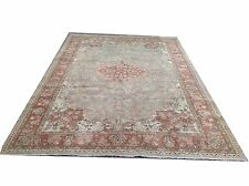 "10' x 6'9"" Vintage  soft pastel green milky  brown cream overdyed   rug carpet"