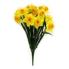 Bush of Two Tone Yellow Daffodils Artificial Realistic Silk Flowers Interior