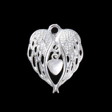 5 SILVER PLATED FILIGREE ANGEL WINGS WITH CENTRAL DROP HEART PENDANT 28mm (36E)