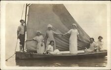 GREAT IMAGE - Men & Women Posing on Sailboat Sailing c1910 RPPC Unidentfied