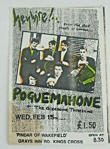 POGUE MAHONE - THE POGUES early LONDON GIG FLYER WED 15 FEB 1984 Hand Coloured