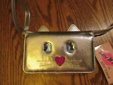 """LUV BETSEY JOHNSON """"LBONTOWN"""" SILVER CAT Wallet On A String / Phoneholder  NWT"""