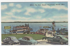 Paul Bunyan Childrens Playground Lake Bemidji Minnesota linen postcard