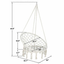 Beige Hanging Cotton Rope Macrame Hammock Chair Swing Outdoor Indoor
