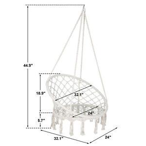 Hanging Cotton Rope Macrame Hammock Chair Swing Outdoor Indoor Beige