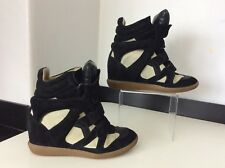 Isabel Marant Beckett Black & Cream Suede Boots Sneakers Size 38 Uk 5 Vgc