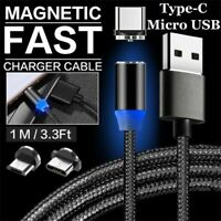 3ft/6ft Micro USB Port Magnetic Type-C Plug Charger Cable for Android Samsung LG