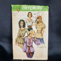 Simplicity Pattern 9313 Peasant BOHO Blouse Sz 12 Elastic Neckline Vtg 1971